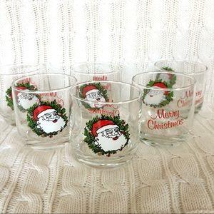 Vintage Style Santa Claus Christmas Glasses Six